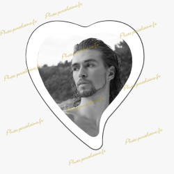 Photo porcelaine grand coeur bordure blanche - Médaillon photo noir et blanc HOMME