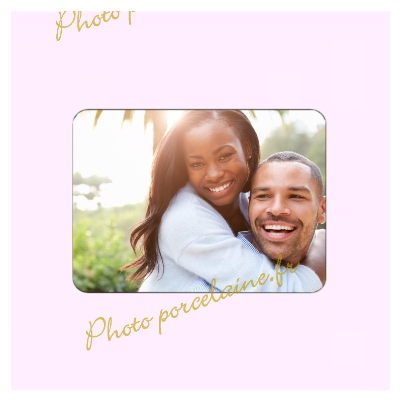 Photo porcelaine rectangle horizontale - Médaillon photo couleur 2 PERSONNES