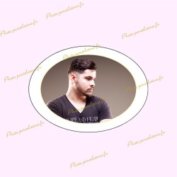 Photo porcelaine ovale horizontale filet or - Médaillon photo couleur HOMME