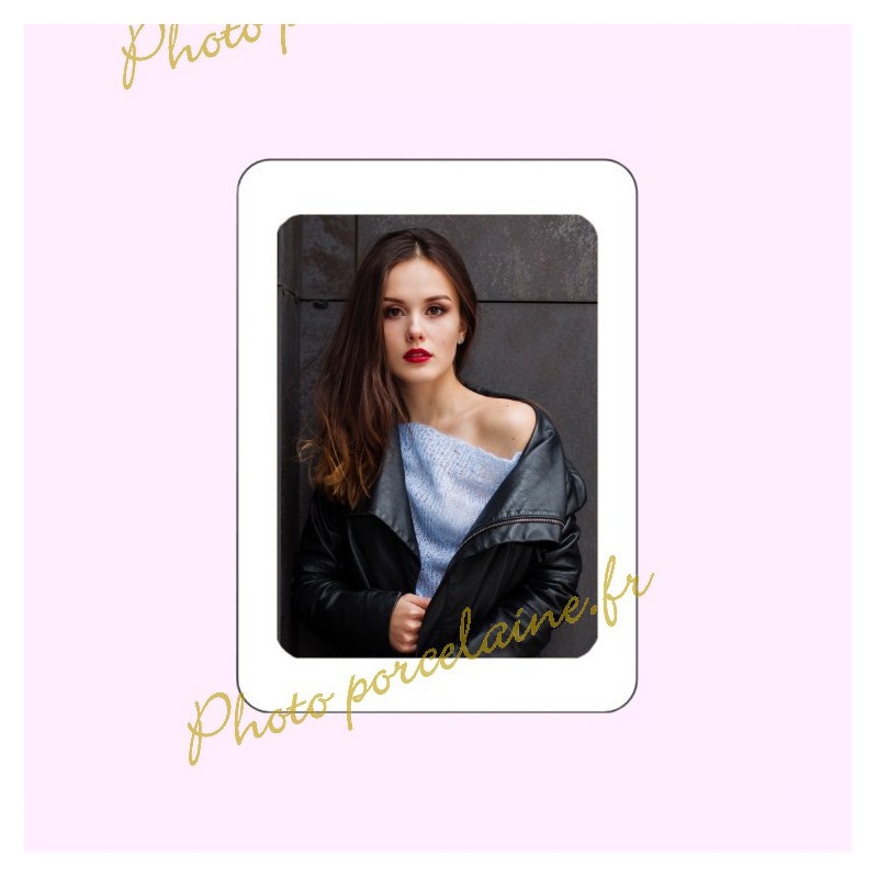 Photo porcelaine rectangle bordure blanche - Médaillon photo couleur FEMME